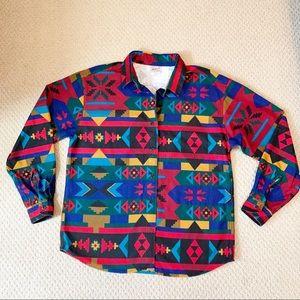 Vintage WOOLRICH Aztec Western Flannel Blanket L